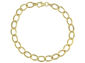 10K Yellow Gold 6.3mm Flat Wire Curb Bracelet 7.5 Inch