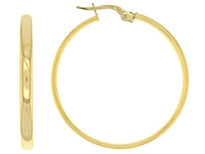 10K Yellow Gold 30mm Mirror Tube Hoop Earrings