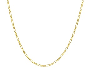 10K Yellow Gold Hollow Figaro Chain Necklace 20 Inch