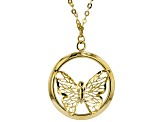 10K YELLOW GOLD BUTTERFLY NECKLACE 18 INCH FLAT CABLE CHAIN