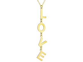 "10K Yellow Gold ""Love"" Necklace 18 Inch Flat Cable Chain"