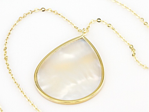 White Mother Of Pearl Drop 10K Yellow Gold Necklace 18 Inch