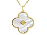 White Mother Of Pearl  10K Yellow Gold Clover Shape Necklace 18 Inch