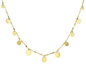 10K Yellow Gold Graduated Circle Necklace 18 Inch