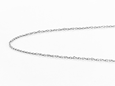 10K White Gold .5MM Diamond Cut Rolo Chain Necklace