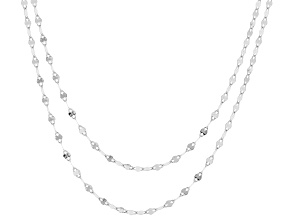 Rhodium Over 10K White Gold Set of 2 Valentino 18 and 20 Inch Chains