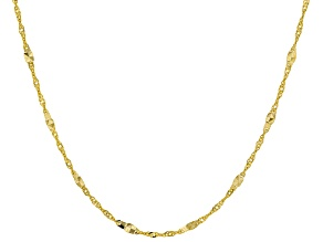10K Yellow Gold 1MM Singapore Chain Necklace 18 inch