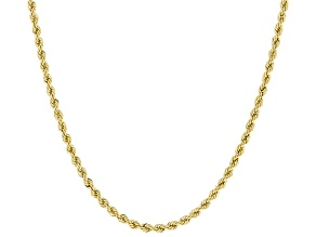 10K Yellow Gold 2.5mm Rope Chain Necklace 20 Inch