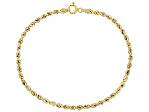 10K Yellow Gold 2.5mm Rope Bracelet 7.5 Inch