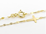 10K Yellow Gold Sideways Cross Necklace 18 Inch