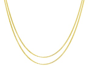 10K Yellow Gold Curb Chain Necklace Set 18, & 20 Inch