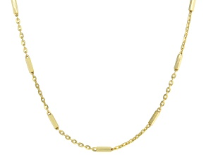 10K Yellow Gold Station Bar Flat-Rolo Necklace