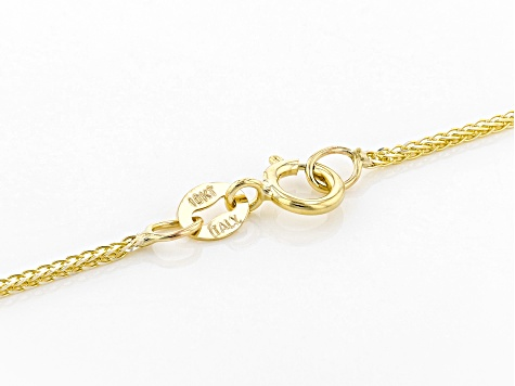 10K Yellow Gold & Rhodium Over Yellow Gold Diamond Cut Wheat Chain Necklace 18 Inch