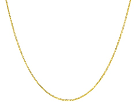 10K Yellow Gold & Rhodium Over Yellow Gold Diamond Cut Wheat Chain Necklace 20 Inch
