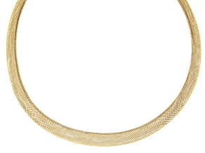 10K Yellow Gold Mesh Omega Necklace 18 Inch