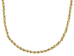 10K Yellow Gold 3.5MM Diamond Cut Rope Chain Necklace 18 Inch
