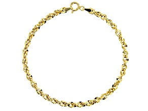 10K Yellow Gold Diamond Cut Rope Chain Bracelet 7.5 Inch