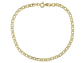 10K Yellow Gold Diamond Cut Link Bracelet 7.5 Inch