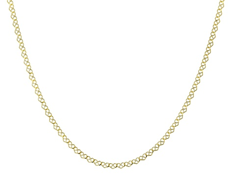 10K Yellow Gold Heart Chain Necklace 18 Inch