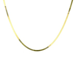 10K Yellow Gold Flat Herringbone Necklace 18 Inch