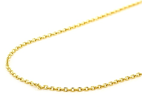 10K Yellow Gold 1MM Diamond Cut Rolo Chain Necklace 18 Inch