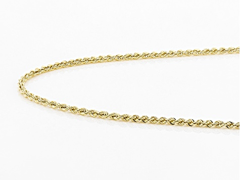 10K Yellow Gold 2MM Hollow Diamond Cut Rope Chain Necklace 18 Inch