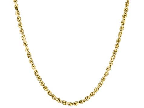 10K Yellow Gold 2MM Hollow Diamond Cut Rope Chain Necklace 20 Inch