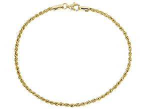 10K Yellow Gold Hollow Diamond Cut Rope Chain Bracelet 7.5 Inch