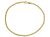 10K Yellow Gold Hollow Diamond Cut Rope Chain Bracelet 7.5 Inch