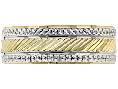 10K Two-Tone Diamond Cut Band Ring
