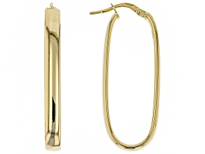 10K Yellow Gold 11MM Polished Rectangle Tube Hoop Earrings