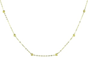 10k Yellow Gold Bead Station Adjustable Necklace