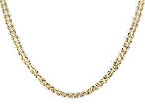 10k Yellow Gold Designer Rope 18 inch Chain Necklace
