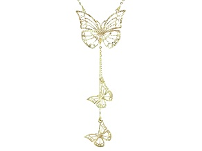 10k Yellow Gold Butterfly Lariat 18 inch Necklace