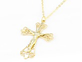 10k Yellow Gold Filigree Crucifix 18 inch Necklace