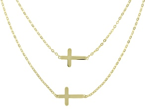 10k Yellow Gold Double Cross Multi-Row 18 inch Necklace