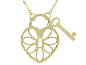 10k Yellow Gold Heart and Key 18 inch Necklace