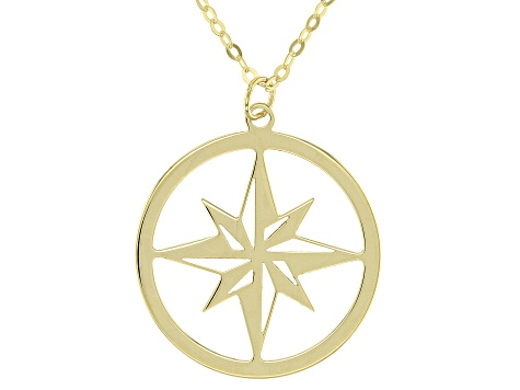 10k Yellow Gold Compass Star Pendant with 18 inch Chain