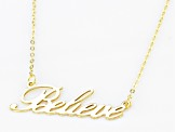 10k Yellow Gold 1.3mm Believe Script 18 inch Necklace