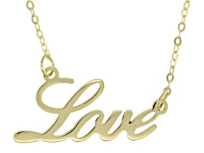 10k Yellow Gold 1.3mm Love Script 18 inch Necklace