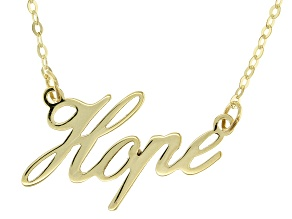 10K Yellow Gold 1.3MM Hope Script 18 Inch Necklace