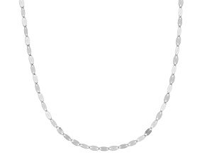 Rhodium Over 10k White Gold Polished Mirror Link 16 Inch Necklace