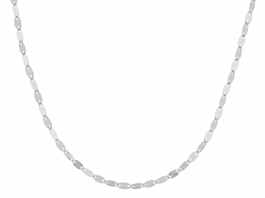 Rhodium Over 10k White Gold Polished Mirror Link 18 Inch Necklace