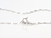 Rhodium Over 10k White Gold Polished Mirror Link 20 Inch Necklace