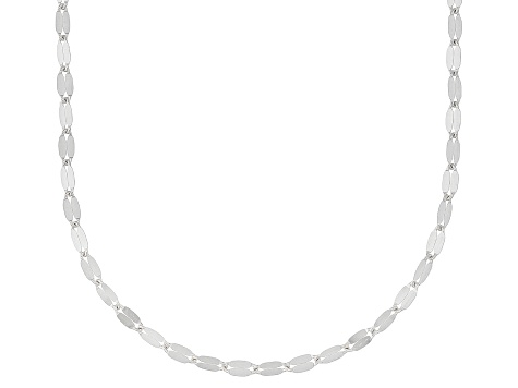 Rhodium Over 10k White Gold Polished Mirror Link 24 Inch Necklace