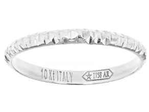 Rhodium Over 10k White Gold Diamond Cut Stackable Band Ring
