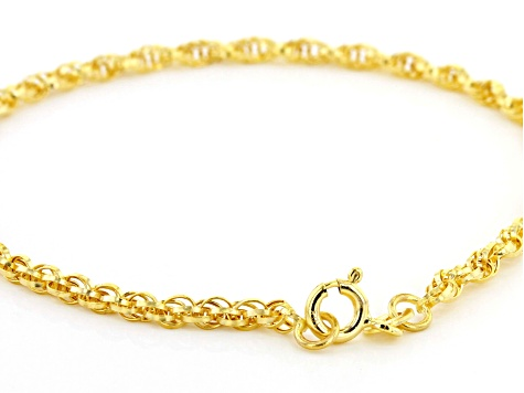 10k Yellow Gold Polished Torchon 8 inch Bracelet