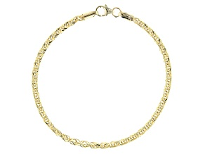 10k Yellow Gold Polished Square Spiga 7.25 inch Bracelet