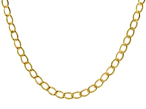 10k Yellow Gold Polished Oval Curb 18 inch Necklace