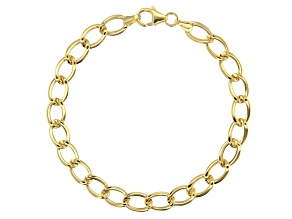 10k Yellow Gold Polished Oval Curb 7.25 inch Bracelet